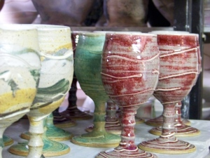 green, turquoise, red goblets