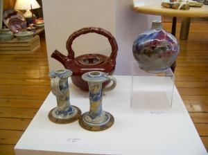Vase-1980; Candlesticks-1970; Teapot-1990