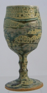 Handmade Stoneware Pottery Goblet in green and gold