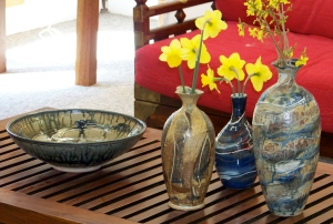 Handthrown vases and bowl